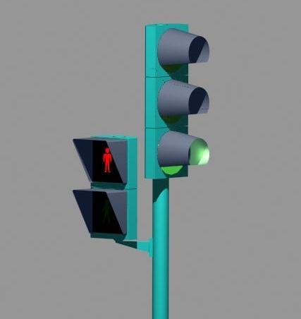 Modelo semáforo 3D, 3D Studio, Gilitadas