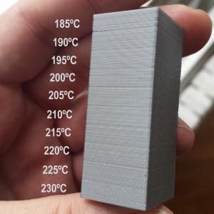 Test de temperaturas, PLA Ingeo 350. Gilitadas.
