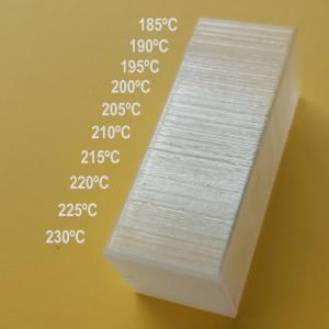 Test de temperaturas, PLA Ingeo 350 natural. Gilitadas.